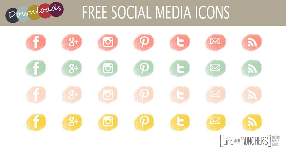 free social media icons pastels