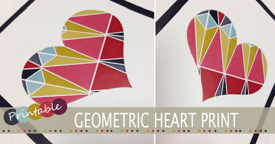 Geometric heart printable