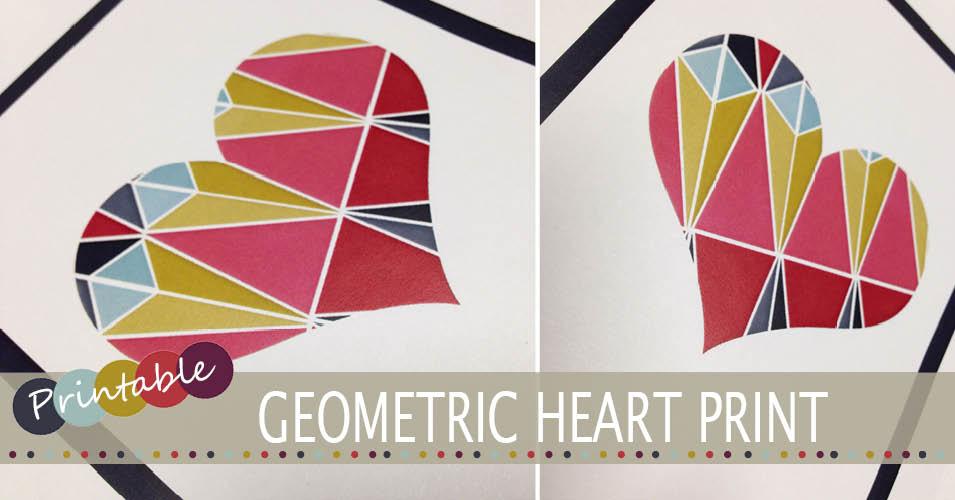 Geometric heart printable