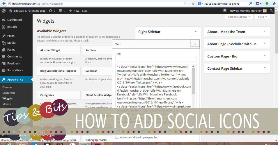How to add social icons to wordpress blog