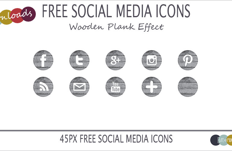 Social Media Icons wood effect download
