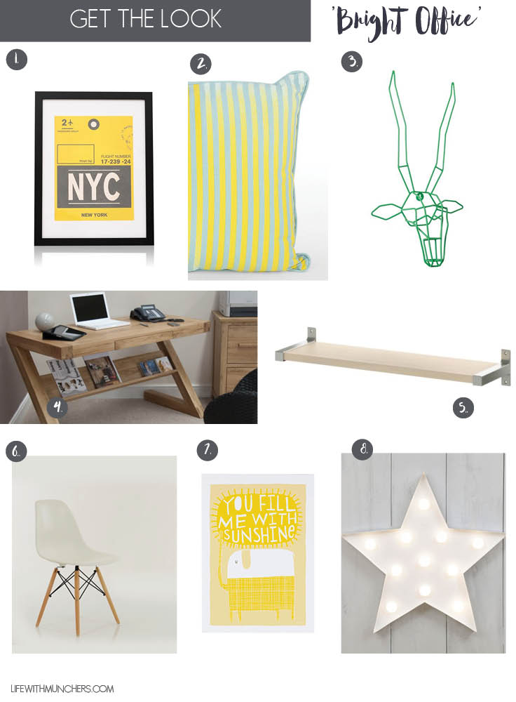 Bright office decor ideas featuring yellow cushions, green stag head, oask desk and yellow wall art. Perfecting the best work space for creative minds
