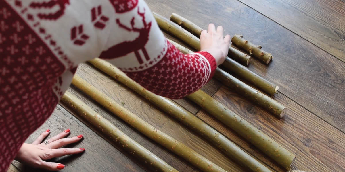 Make your own stick christmas tree