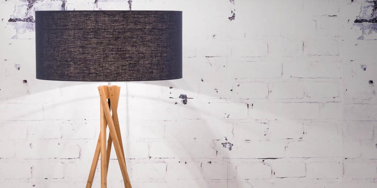 Denim colour lamp shade. Denim home interiors trend