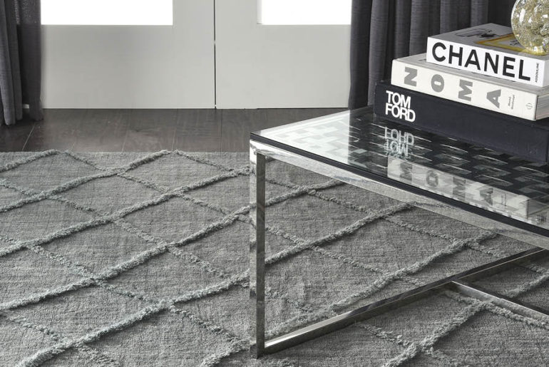Denim floor covering and denim rug.Denim home interiors trend