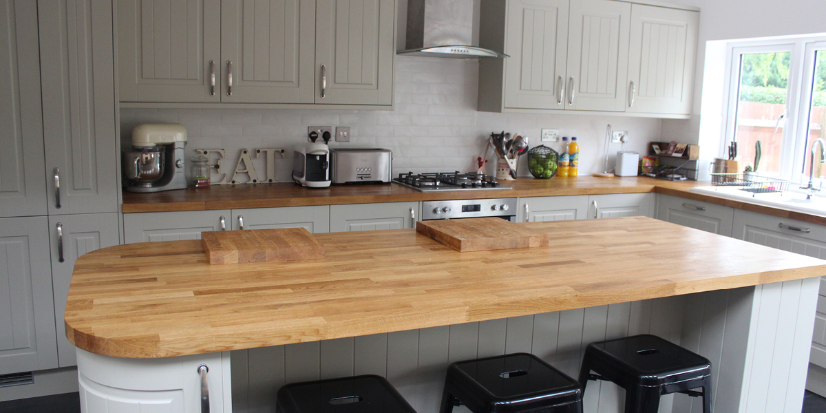 Traditional kitchen with a modern twist, wooden worktops and industrial decor Industrial kitchen makeover Bloggers homes july 17 what the redhead said