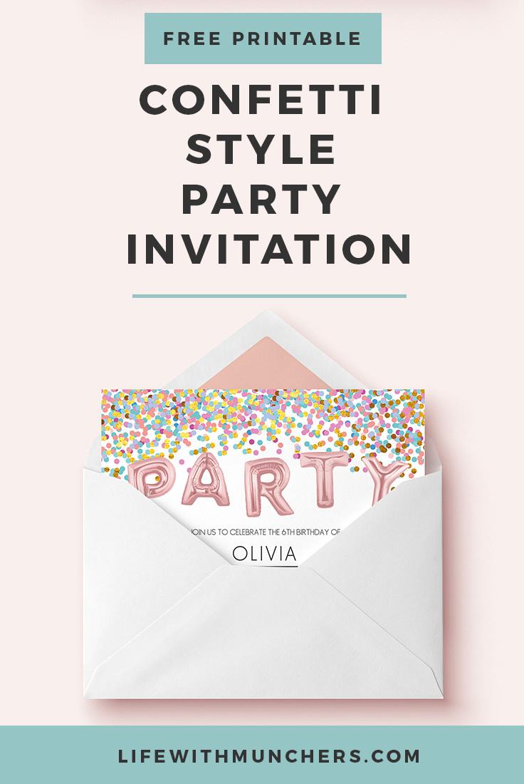 Free Kids Party Invitation Printable Confetti
