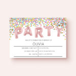 Kids Birthday Party Invitation Printable | Foil Balloon & Confetti Design
