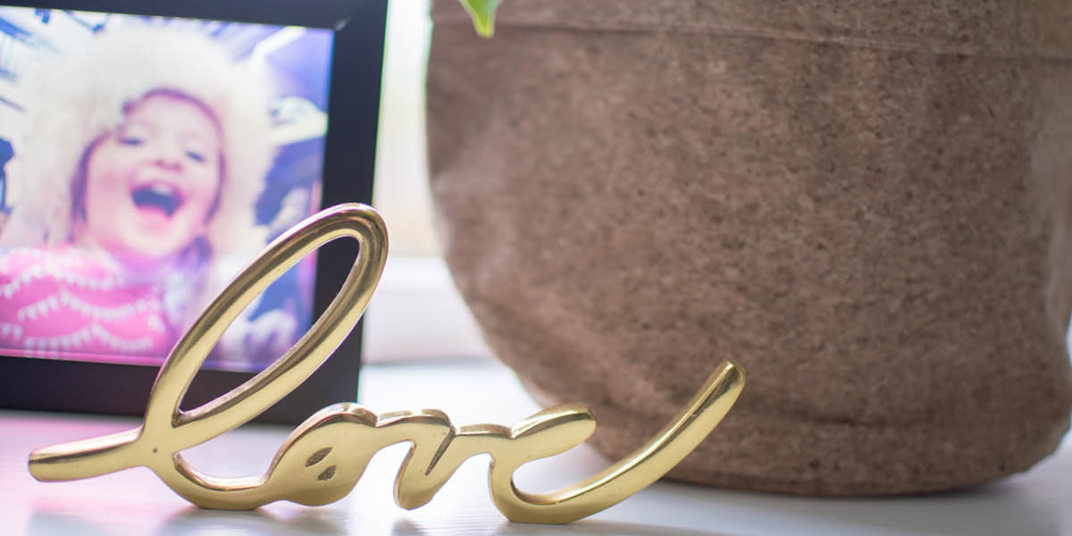 Gold love ornament home office update